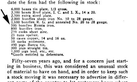 1854 Russia iron available from Dickerson, Van Dusen & Co in New York – Vol 76 Aug 4, 1911 Metal Worker, Plumber, and Steam Fitter